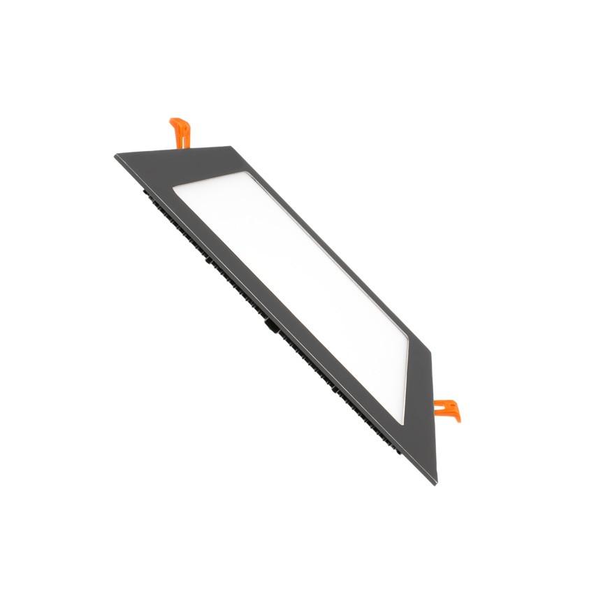 LED-Deckeneinbauleuchte Eckig SuperSlim 15W Schwarzer Rahmen ...