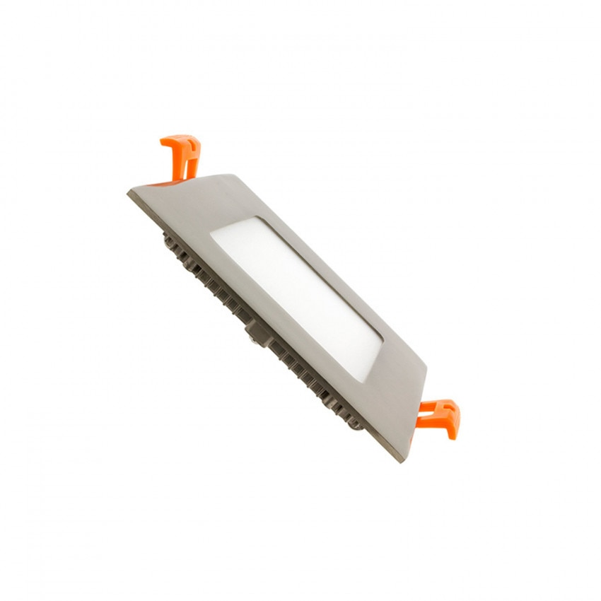 Dalle LED Carrée Extra-Plate 6W Argentée Coupe 105x105mm