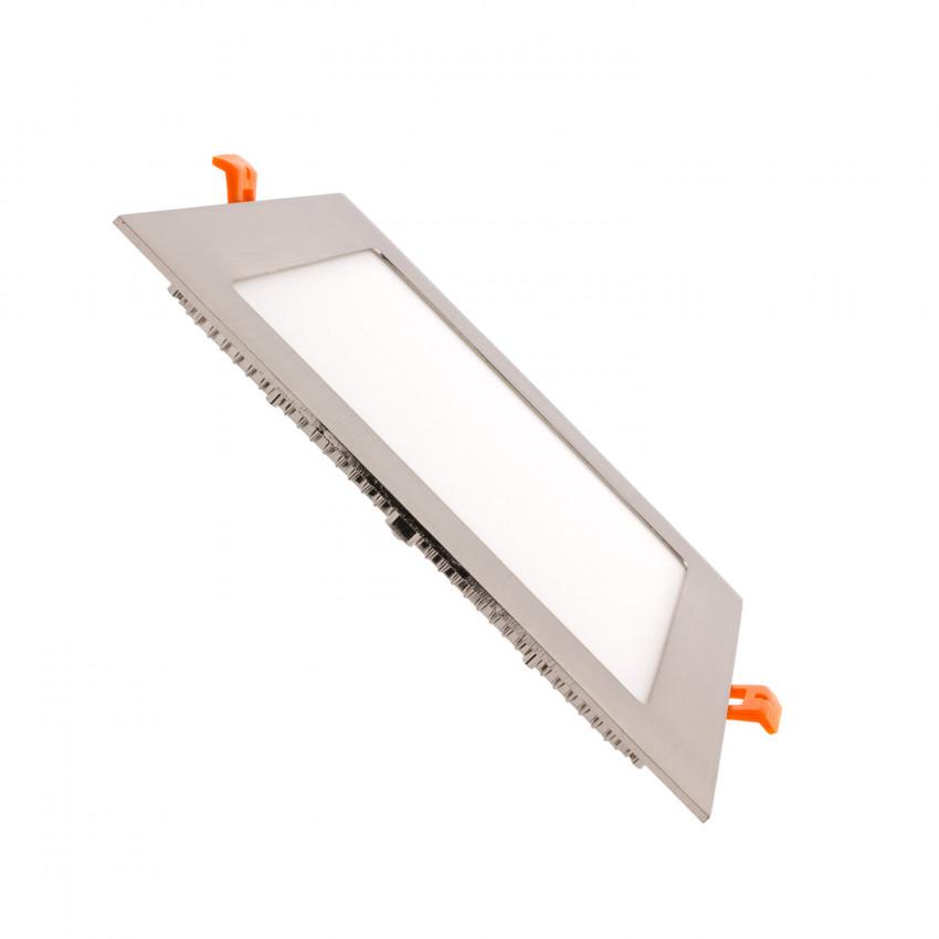 Dalle LED Carrée Extra-Plate 18W Argentée Coupe 205x205mm