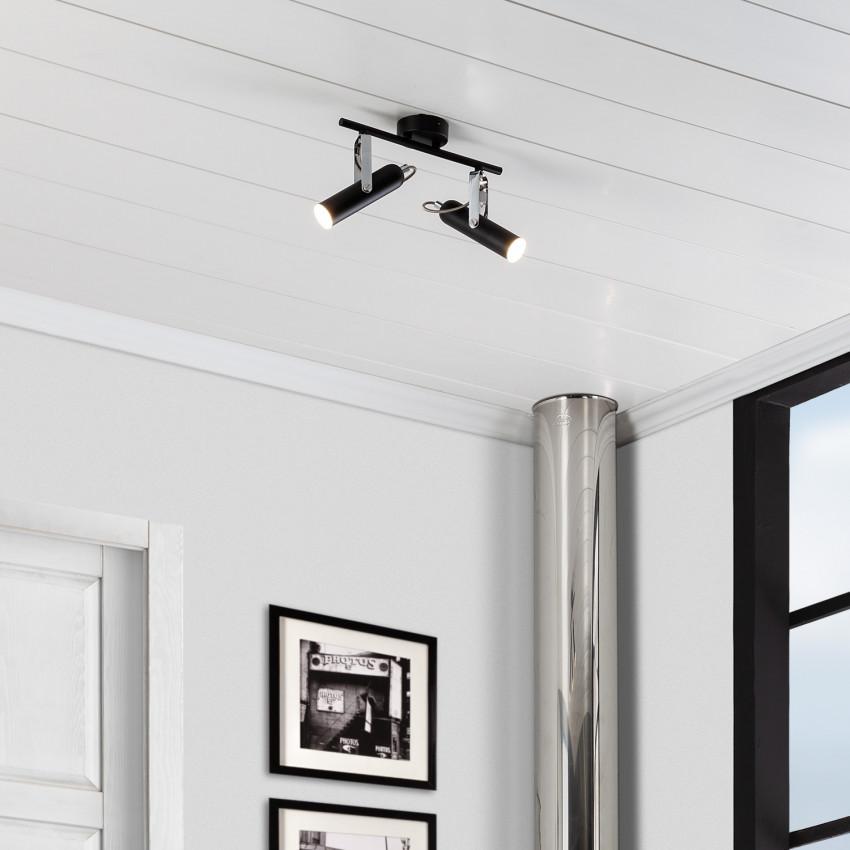 Plafonnier LED Orientable Bari 2 Spots 8W Noir