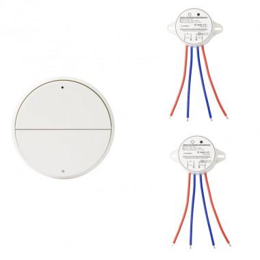 Interrupteur Poussoir Sans Fil 2 Boutons + 2 Récepteurs