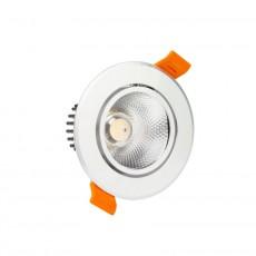 Foco LED Downlight Circular COB 7W Plata