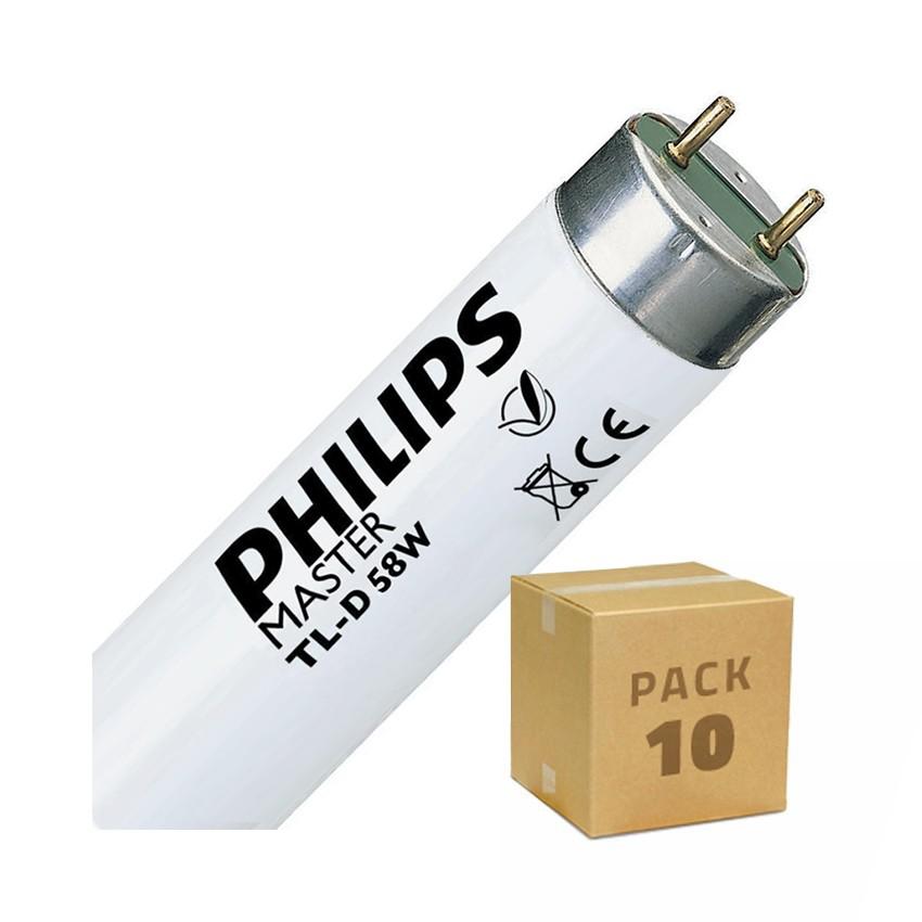 Pack Tube Fluorescent Dimmable PHILIPS T8 1500mm Connexion des 2 Côtés 58W (10 Un)