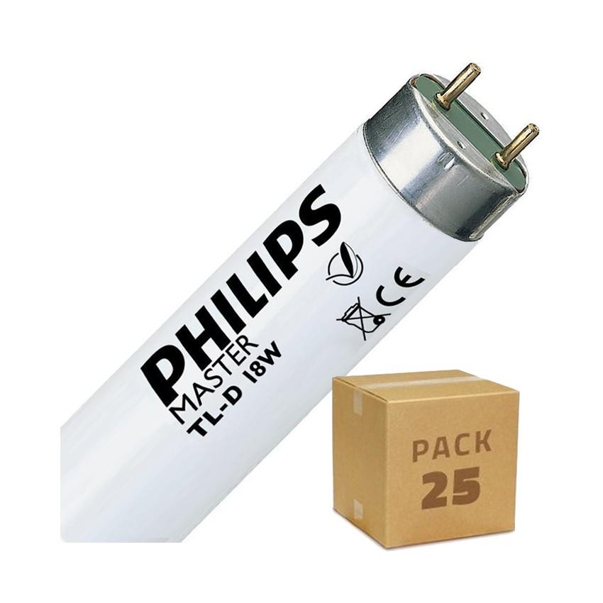 Pack Tube Fluorescent Dimmable PHILIPS T8 600mm Connexion des 2 Côtés 18W (25 Un)