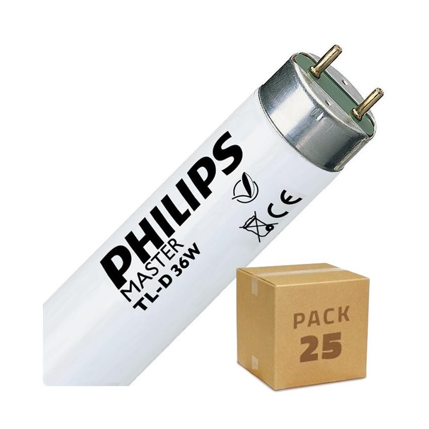 Pack Tube Fluorescent Dimmable PHILIPS T8 1200mm Connexion des 2 Côtés 36W (25 Un)