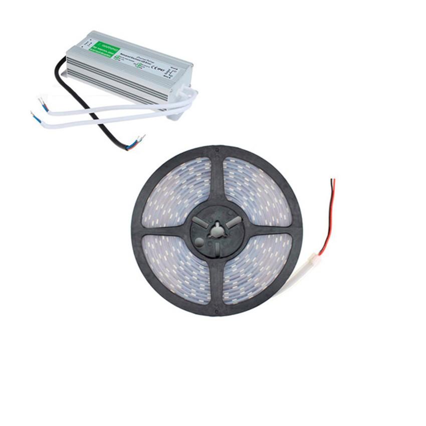 Kit Tira LED 48W 60LED/m 5m IP67 con Fuente de Alimentación
