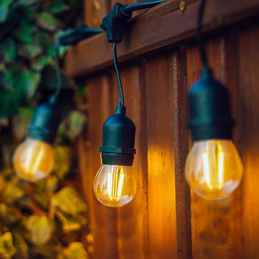Kit Guirlande Waterproof 5.5m Noire + 8 Ampoules LED E27 Filament 4W