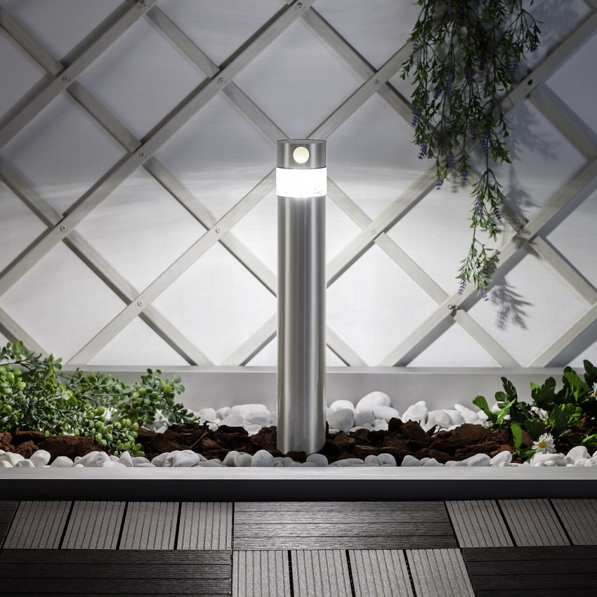 Balise LED Solaire Inti Inox avec Détecteur de Présence PIR 30cm