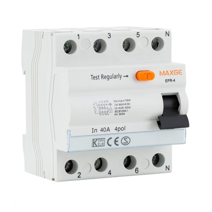Interrupteur Différentiel Résidentiel MAXGE 4P-300mA-Clase AC-10kA