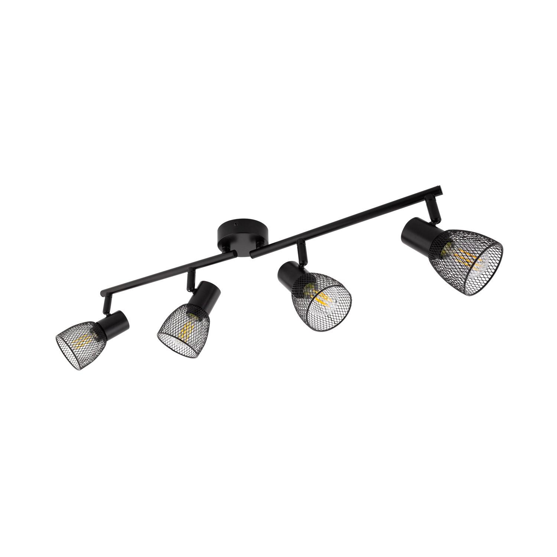 lampe de plafond lin aire orientable grid 4 spots noir. Black Bedroom Furniture Sets. Home Design Ideas