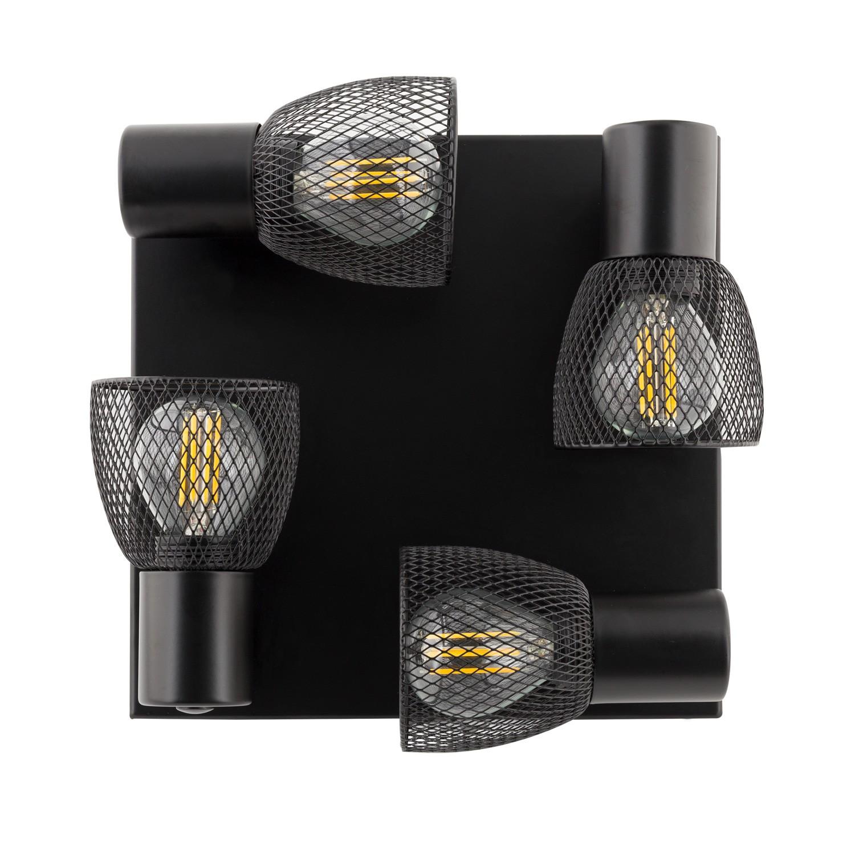 lampe de plafond orientable grid 4 spots noir ledkia. Black Bedroom Furniture Sets. Home Design Ideas