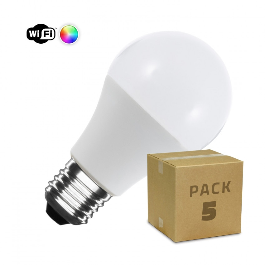 Pack 5 Ampoules LED Smart WiFi E27 A60 Dimmable RGBW 10W