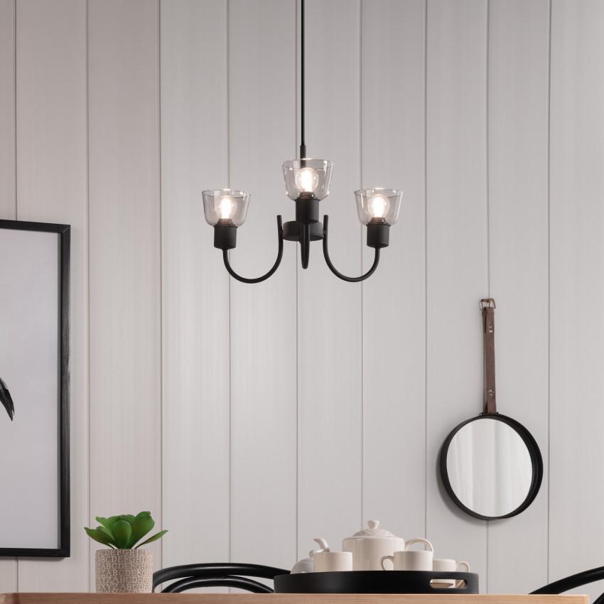 Lampe Suspendue Design Tivo 3 Spots Noir