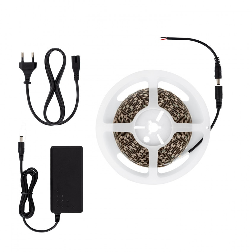 Kit Ruban LED 70W 12V DC SMD5050 60LED/m 5m IP20 avec Bloc d'Alimentation