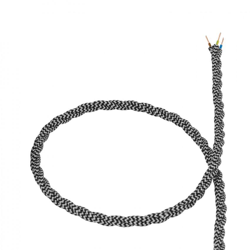 Câble Textile Tressé Blanc et Noir