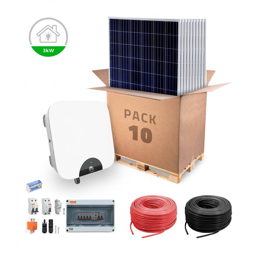 Kit d'Autoconsommation HUAWEI pour Logement Moyen Raccordement au Réseau Électrique Hybride 3KW