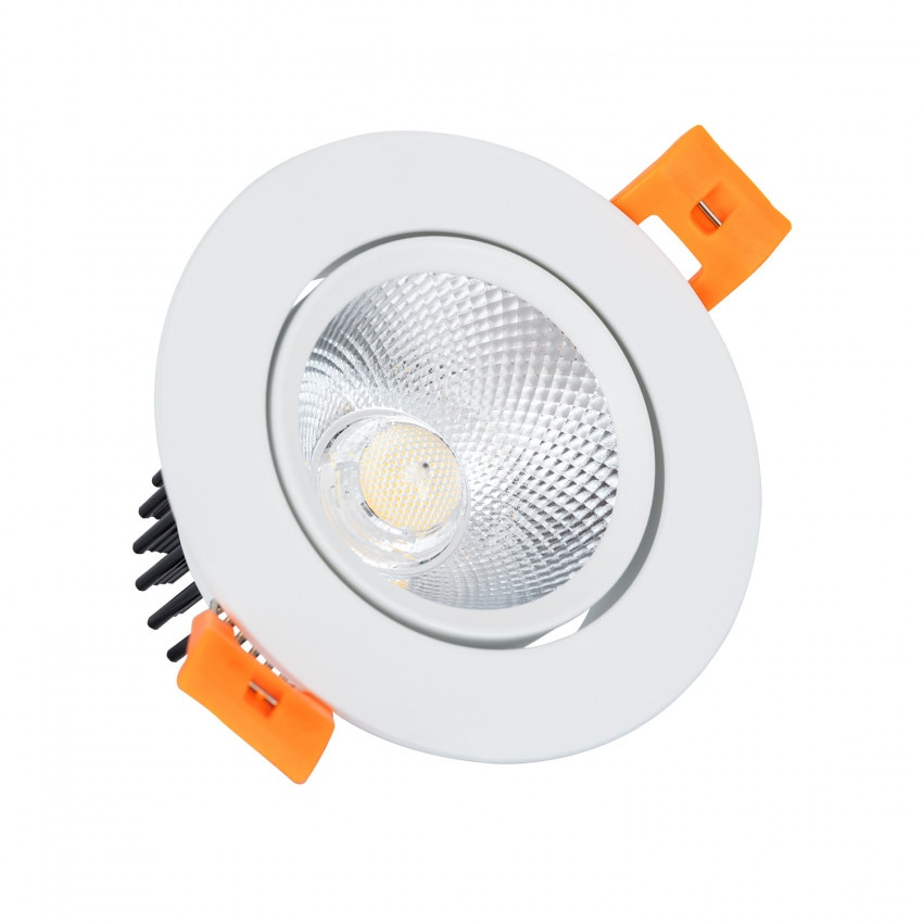Spot LED Downlight COB Orientable Rond 7W (UGR19) Blanc Coupe Ø 70mm