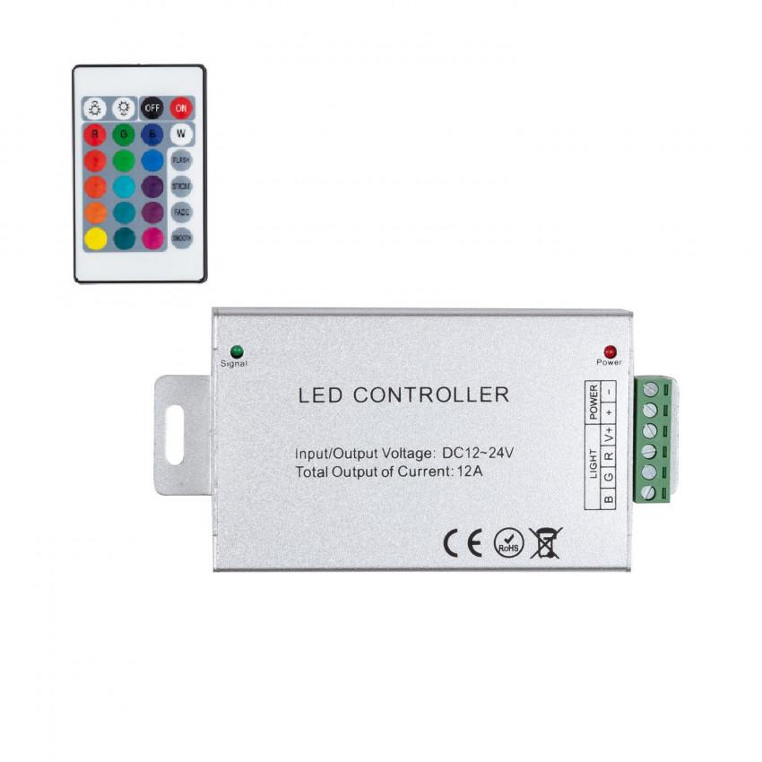 Contrôleur Ruban LED RGB 12/24V,  Dimmable par Télécommande IR 24 Touches