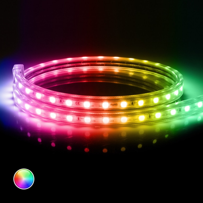 Ruban LED 220V AC 60 LED/m RGB IP65 sur Mesure Coupe Tous les 100cm