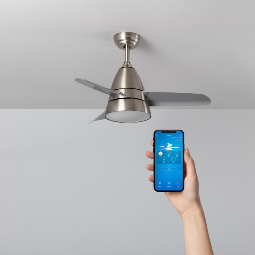 Ventilateur de Plafond LED Industriel Argenté 91cm Moteur AC WiFi