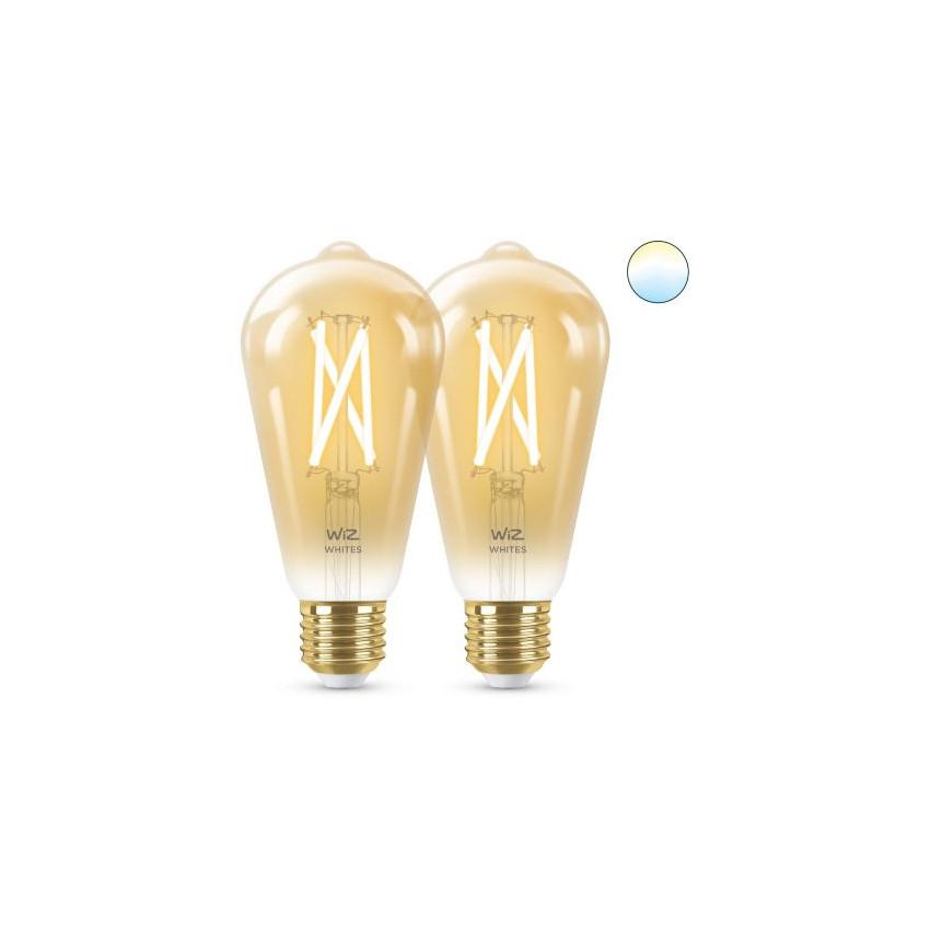 Pack 2 Ampoules LED Smart WiFi E27 ST64 CCT Dimmable WIZ Filament Vintage 6.7W