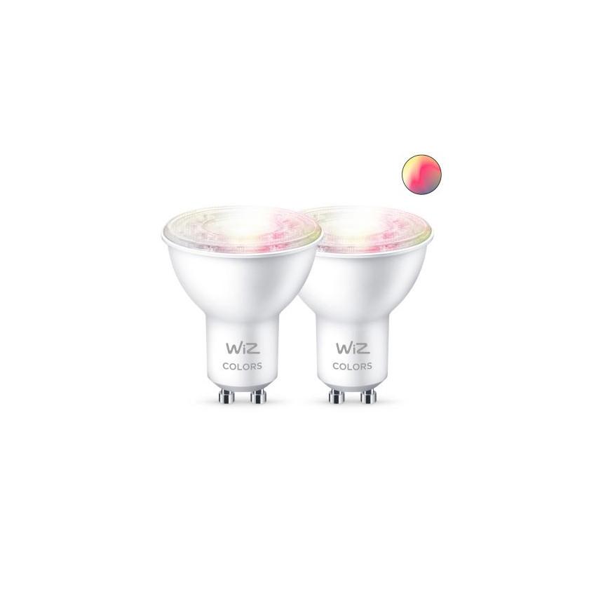 Pack 2 Ampoules LED Smart WiFi + Bluetooth GU10 PAR16 RGB+CCT Dimmable WIZ 4.9W