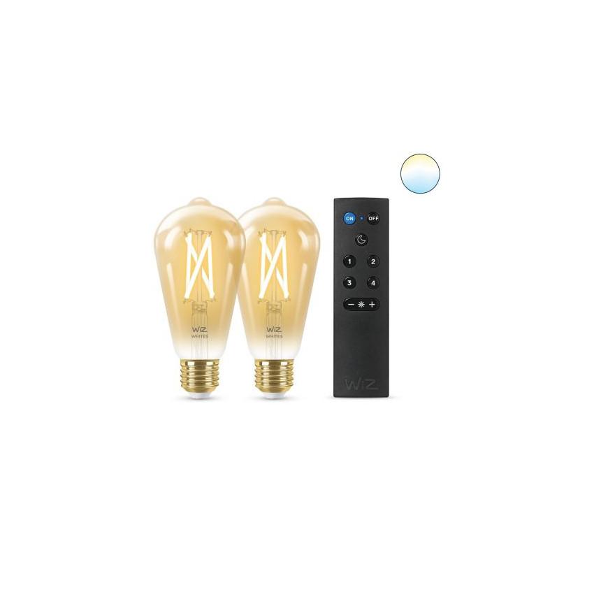 Pack 2 Ampoules LED Smart WiFi E27 ST64 Dimmable WIZ Filament Vintage 6.7W avec Télécommande Smart WiFi WIZ Wizmote