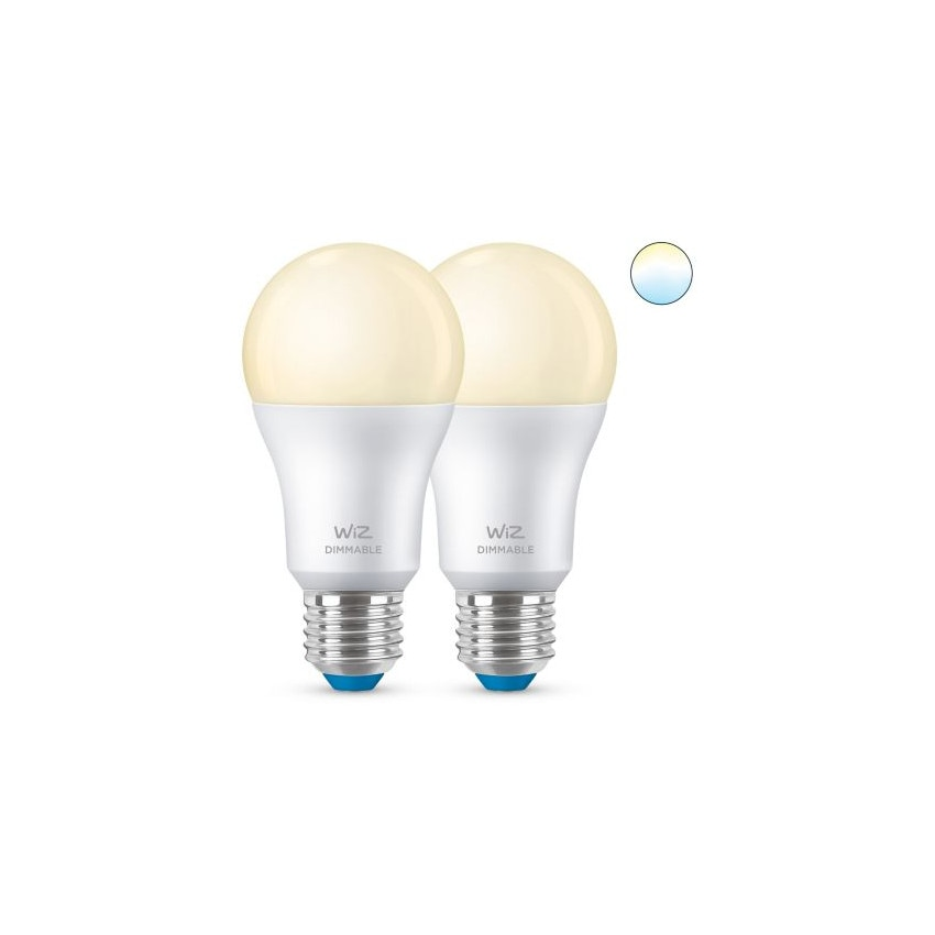 Pack 2 Ampoules LED Smart WiFi + Bluetooth E27 A60 Dimmable WIZ 8W