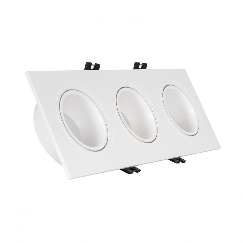 Spot Downlight Carré Inclinable GU10 6W Coupe 75x235mm PC