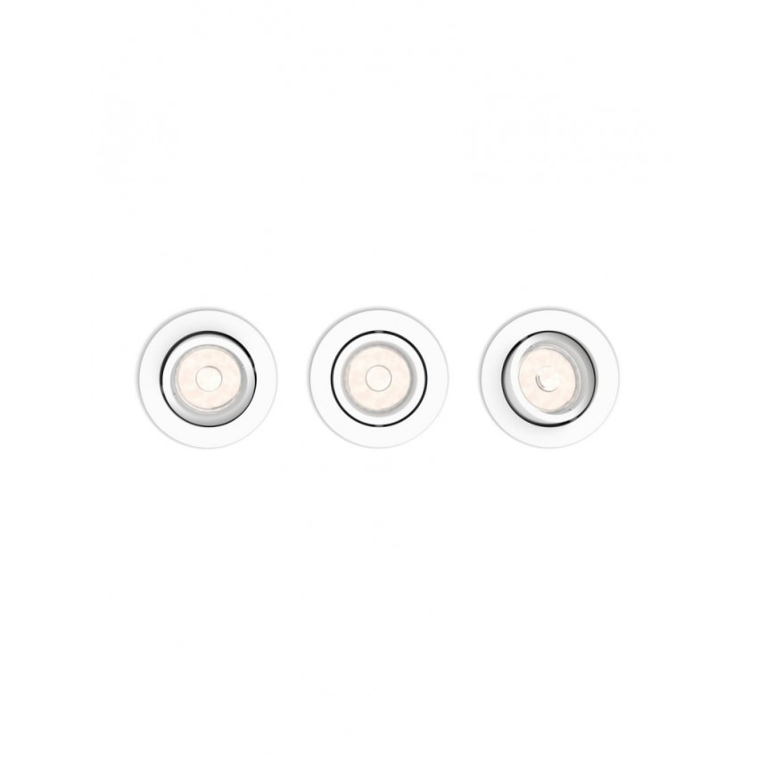 Pack 3 Spots Downlight PHILIPS Rond Donegal Coupe Ø 70mm