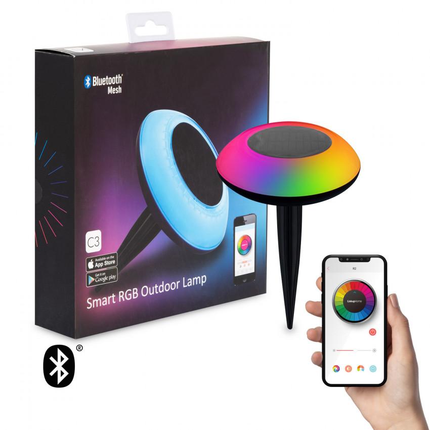 Balise LED Solaire RGBW Bluetooth avec Piquet pour Smartphone IP65