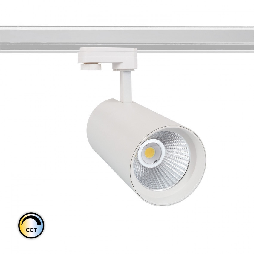 Spot LED New d'Angelo 40W Blanc CCT LIFUD pour Rail Triphasé (3 Allumages) (CRI 90)