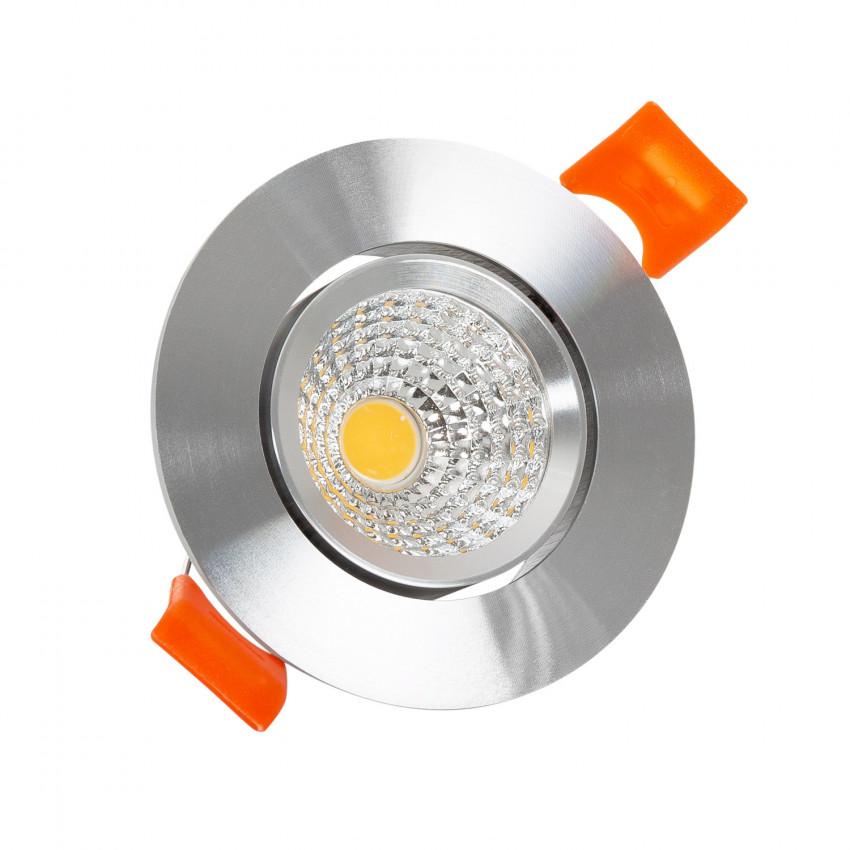 Spot Downlight LED COB Orientable Rond 5W (UGR19) Argenté Coupe Ø 70mm CRI90 Expert Color