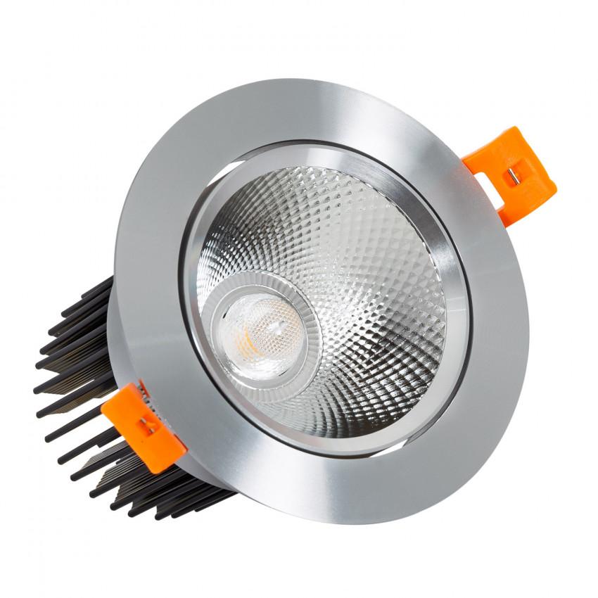 Spot Downlight LED Orientable COB Rond 15W Argenté CRI92 Expert Color No Flicker Coupe Ø90mm