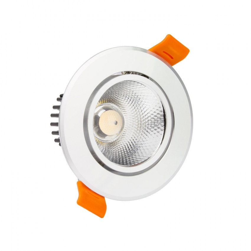 Faretto Downlight LED COB Orientabile Rotondo 12W Argento Foro Ø 90 mm