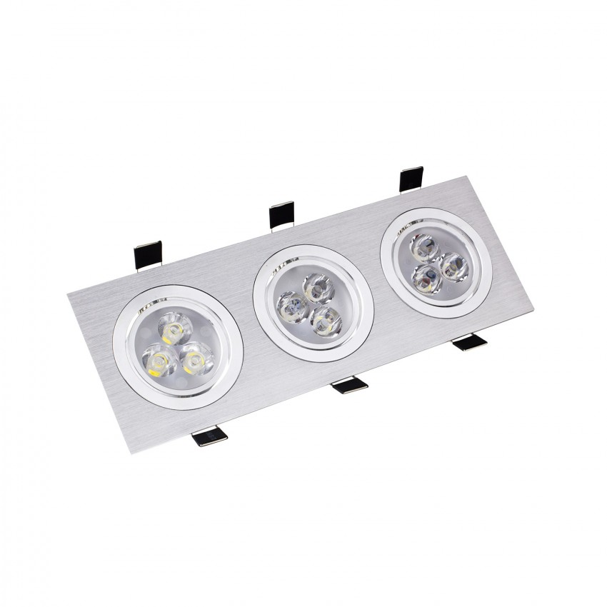 Faretto LED Downlight Rettangolare 3x3x1W Foro 240x75mm
