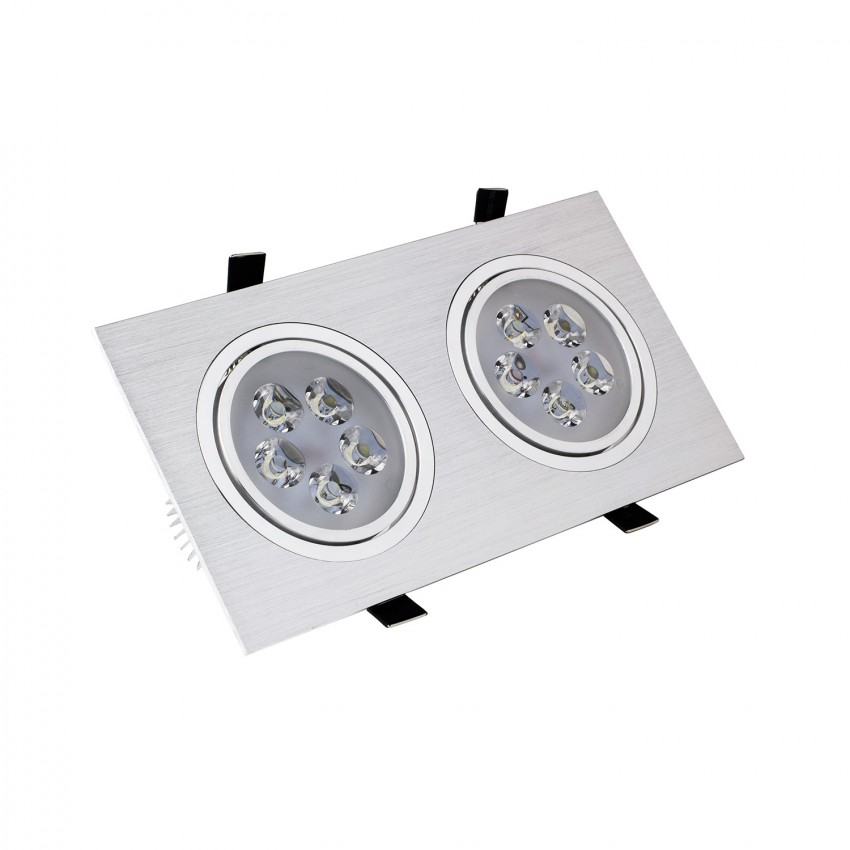 Faretto LED Downlight Rettangolare 2x5x1W Foro 2xØ 86 mm