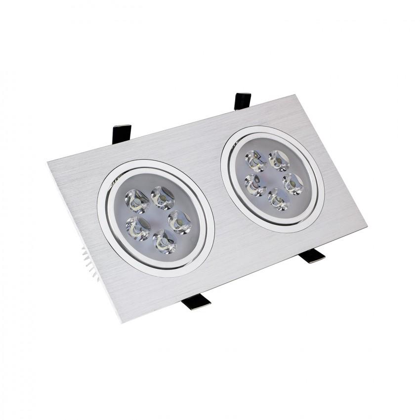 Faretto Downlight LED Orientabile Rettangolare 2x5x1W Foro 2xØ 90mm
