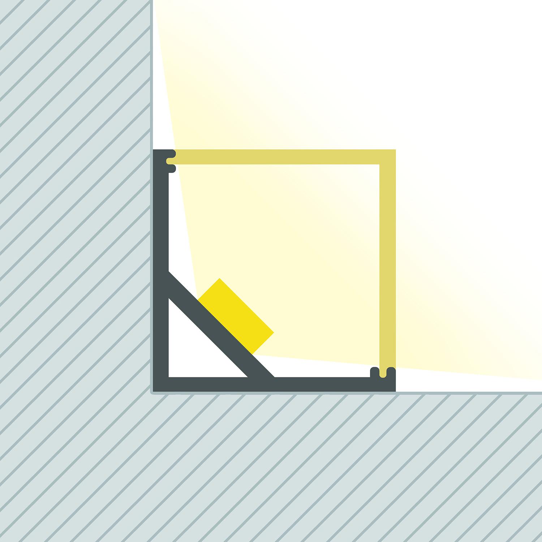 Profilo in Alluminio per Angoli Triangolare 1m Striscia ...