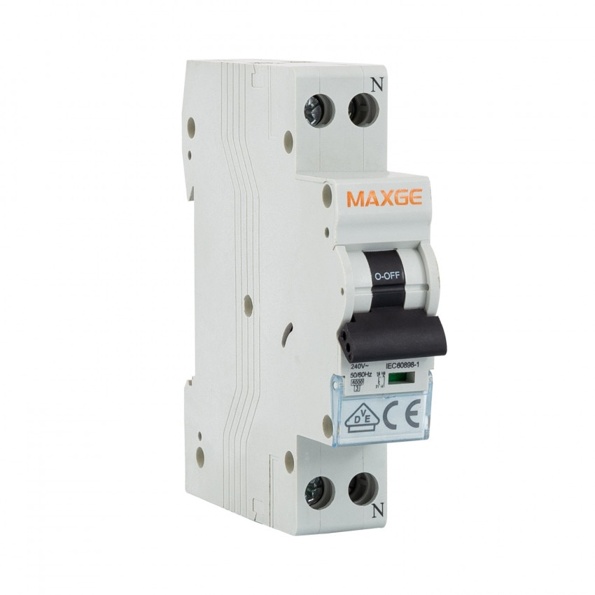 Interruttore Automatico Residenziale MAXGE 1P+N-6kA 6-40A 1 Modulo DPN