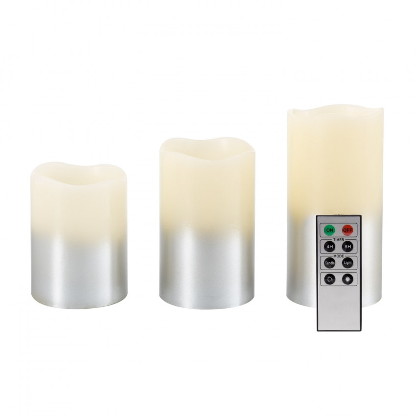 Set of 3 Silver Natural Wax LED Candles with Remote Control