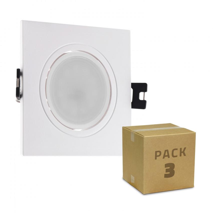 Pack of 3 6W GU10 LED Downlight Ø 75-85mm Cut Out