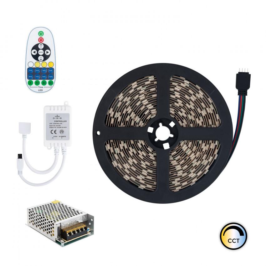 KIT: 5m LED Strip 12V DC, SMD5050, 60LED/m, IP65 with Selectable CCT