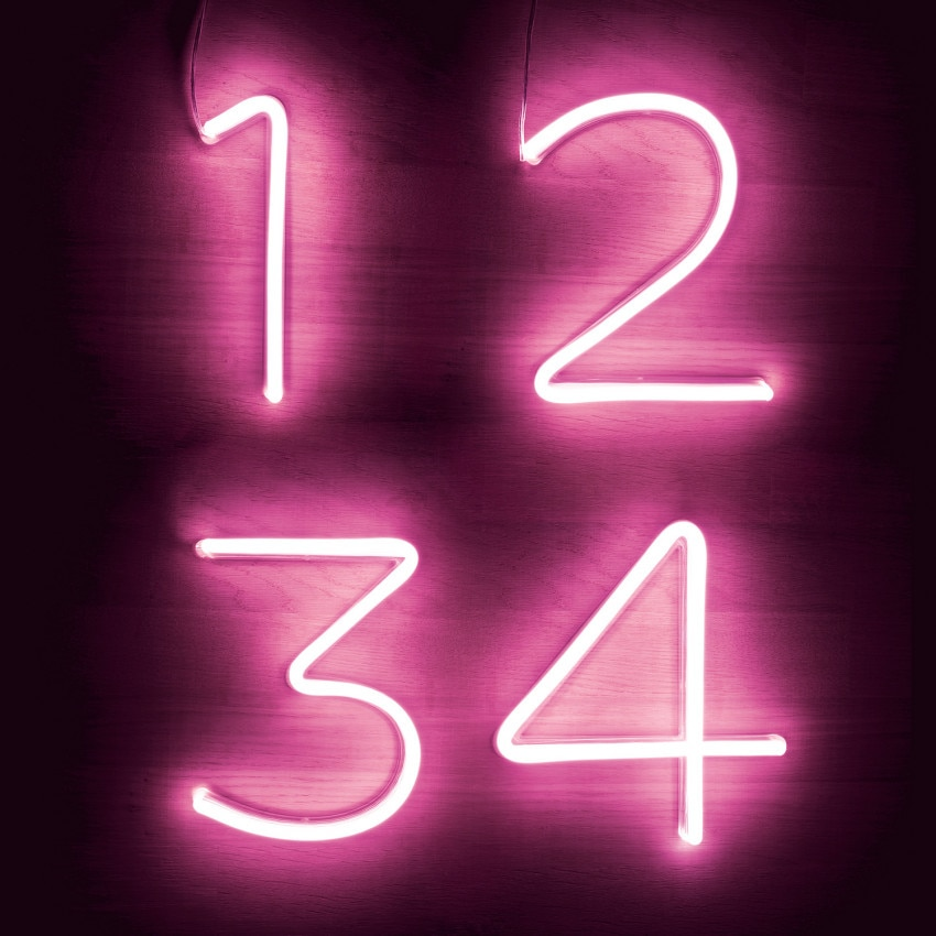 Pink Neon LED Numbers and Symbols