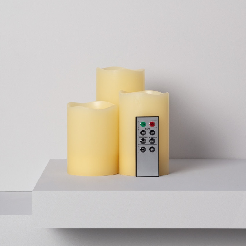 Pack of 3x Natural-Wax LED Candles (23Y) + Remote Control