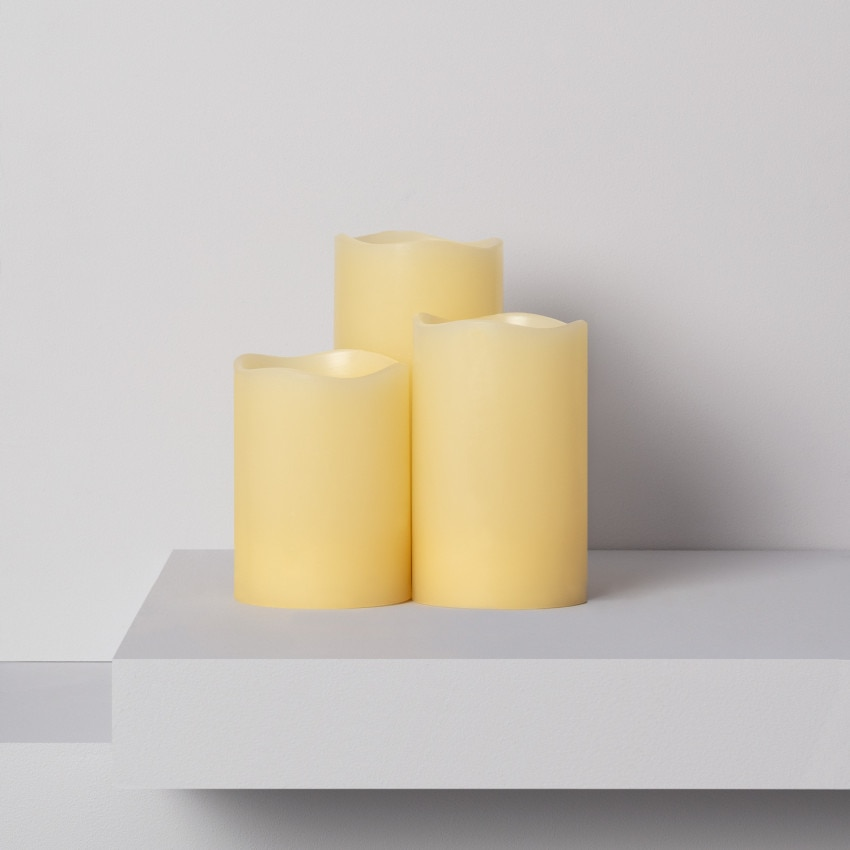 Pack of 3 Natural-Wax LED Candles (23VS)