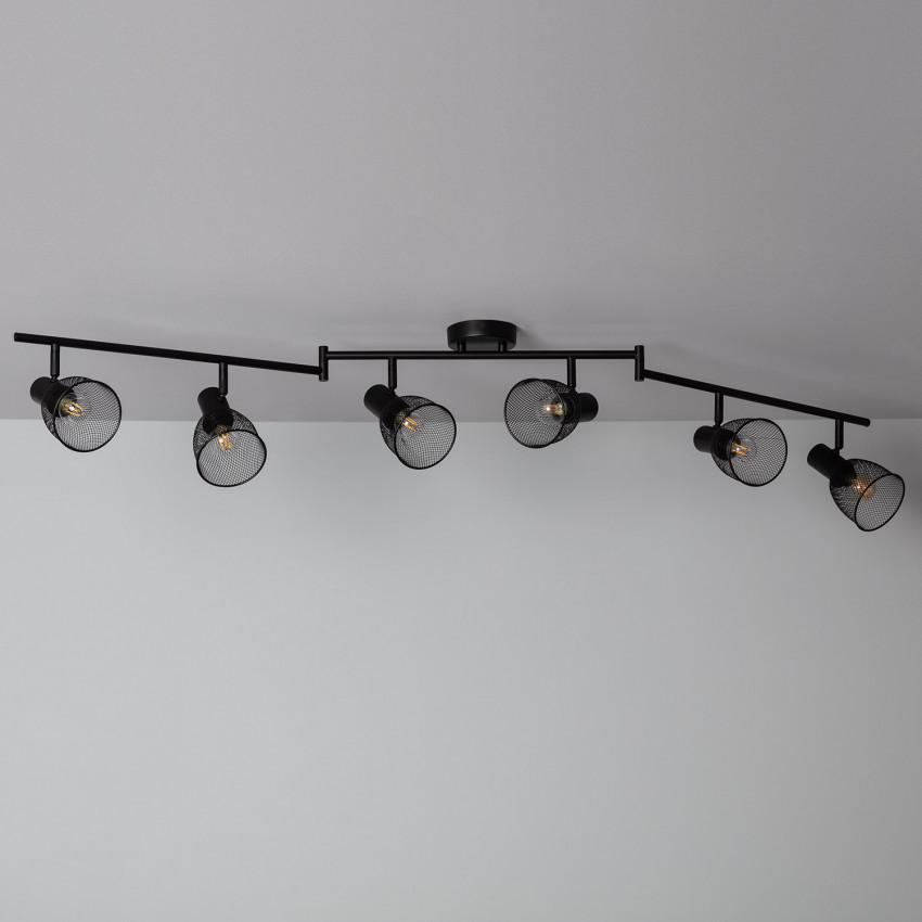 Adjustable Grid Ceiling Light with 6x Spotlights