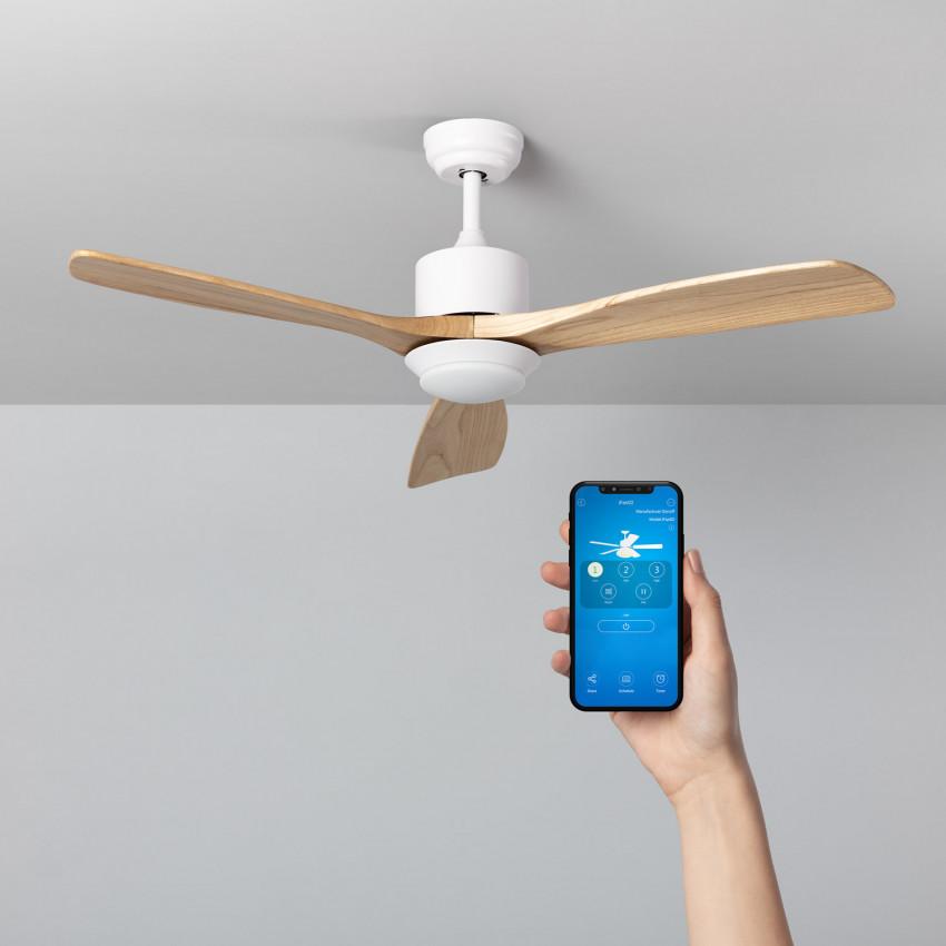 White 132cm Motor AC WiFi Forest LED Ceiling Fan