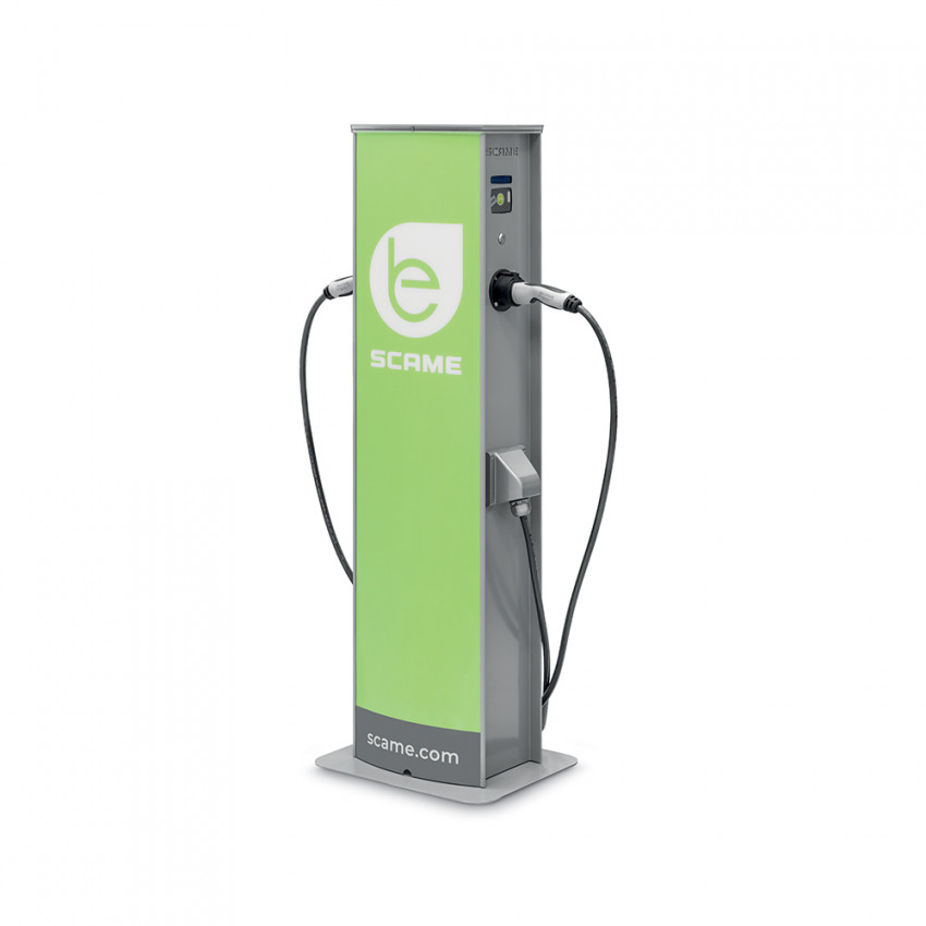 22 kW Single Phase Electric Car Charging Point with 2 Sockets and Mennekes Lock SCAME 204.CA23R-T26T26MA