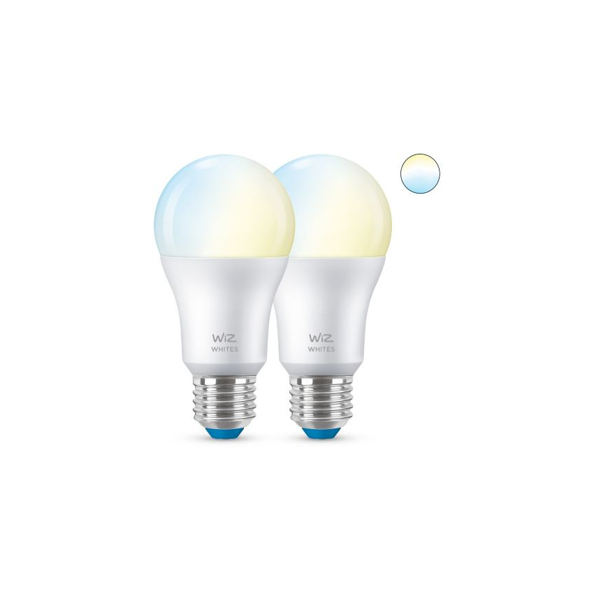 Pack of 8W E27 A60 Smart WiFi + Bluetooth WIZ CCT Dimmable LED Bulbs (2 un)